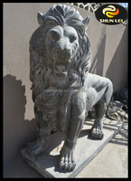 Hand carved life size marble Chinese guardian lion statues