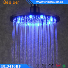 Beelee Bathroom Faucet Accessory 10 Inch LED Rain Shower Head, Oil Rubbed Bronze Black