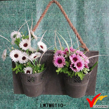 Vintage Galvanized Metal Tin Flower Pot Hanging on the Wall