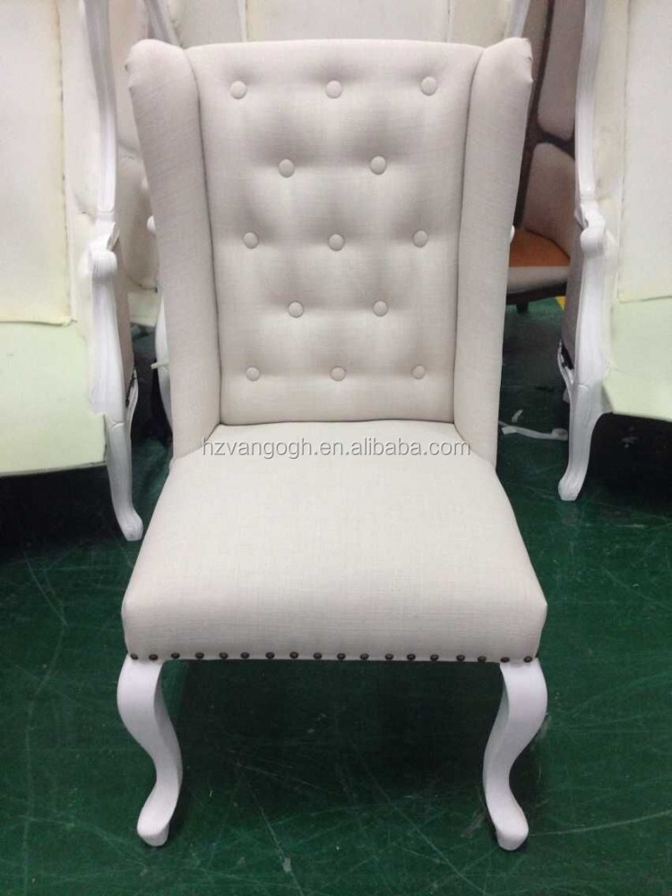 White solid oak antique wooden button fabric wing high back dining chairs