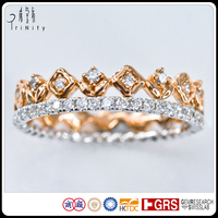 Tiara Crown Engagement Ring in 18K White and Rose Gold Two Tone Petite Art Deco Vintage Genuine Diamond Jewelry Wholesale