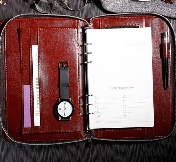 Huaben planner custom pocket size 6 rings binder with zipper