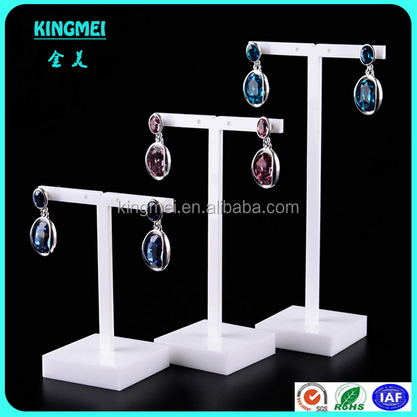 Acrylic Jewelry Display,white T-shape Acrylic Earrings Display Stand