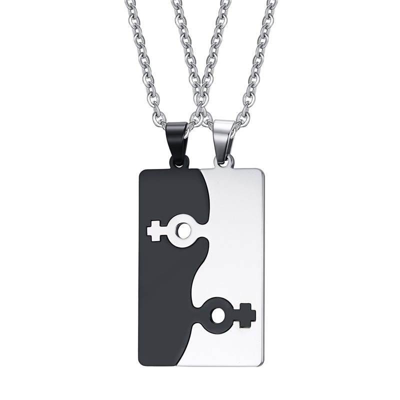 Hot sell jewelry stainless steel black and white male sign pendant necklace 2 in <strong>1</strong>