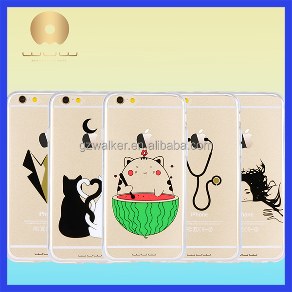 High Quality Factory Price Graphic Design Waterproof Transparent Cell Phone Back Cover Case for iphone 5 5s 6s 6s plus