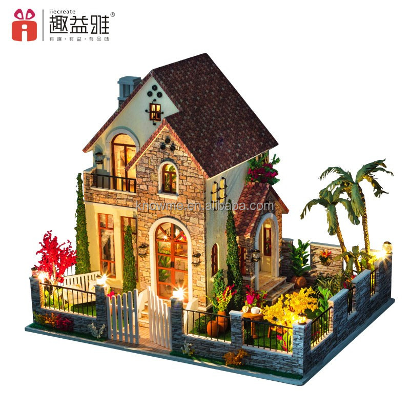 2017 New Year Guangzhou toy 3D wooden puzzle toy DIY wooden doll house with furniture best friend birthday wishes Love house