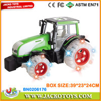 kids friction plastic farm tractor toy farmer vehicle with light