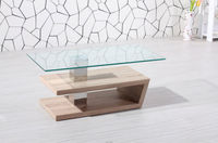 wooden teapoy designs/glass top coffee table