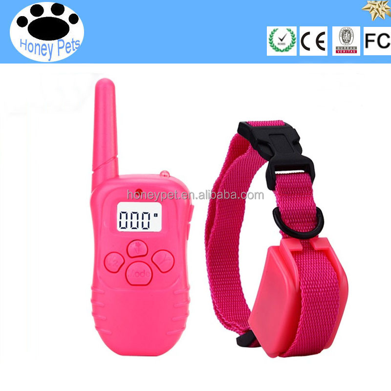 Pink 330 yard Rechargeable and waterproof wireless fence dog pet shock collar for 1 Dog