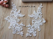 Wholesale Embroidery Lace White Applique For Wedding Accessories,Wedding Dress Neck Collar Applique