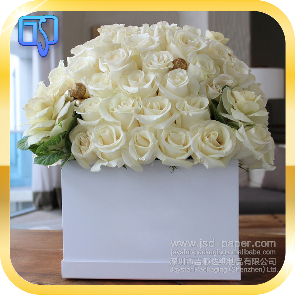 custom size plain white color square shape flower box packaging paper flower packaging gift box hat box for flower