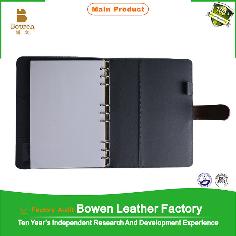2015 custom made pu leather zipper organizer with calculator and pen holder /assert , pu leather zipper organizer , portfolio