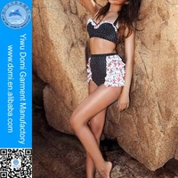 Domi Hot New Arrival 2014 Polka Dot Full Sexy Photos Girls Swimsuit Ruffled Retro High Waist Fashion Bikini Swimwear