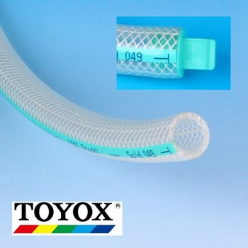TOYOFOODS soft PVC hose for oil, fats, beverages, chemicals, food. Manufactured by Toyox. Made in Japan (high temperature hose)