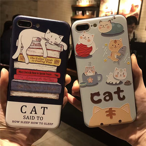 Cute Cat 3D Relief Phone case for iphone 7 7Plus Lazy cat silicon + hard pc Case For iphone 6 6s 6plus back cover