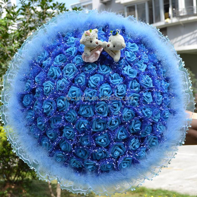 cheap wholesale couple bear and flower plush bouquet for gifts