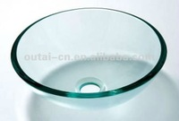 bathroom transparent tempered glass basin/top counter hand wash sink