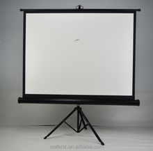"Portable Projector Screen with Tripod Stand 60""x60"" 70""x70"" 84""x84"" 96""x96"" Ratio 1:1 Black White Case Manual Tripod"
