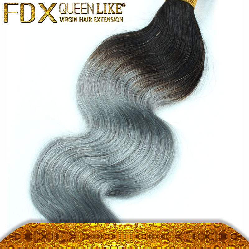 <strong>Black</strong> and Gray Hair Weave Two Color 1B/Grey Remy Virgin Peruvian Wave Hair