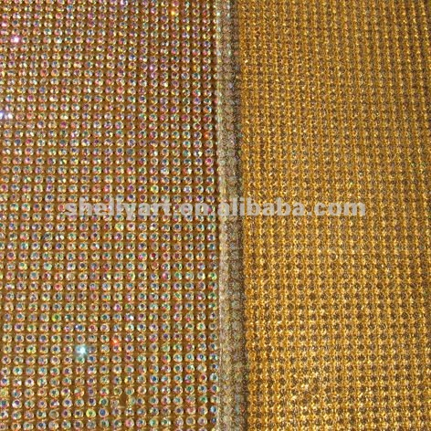 hot fix chaton metal base rhinestone trimming metal mesh crystal AB gold base mesh
