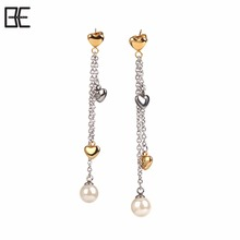 Imitate Pearl Long Fashion Chain Jewelry Titanium Pendant Earrings Heart Accessories