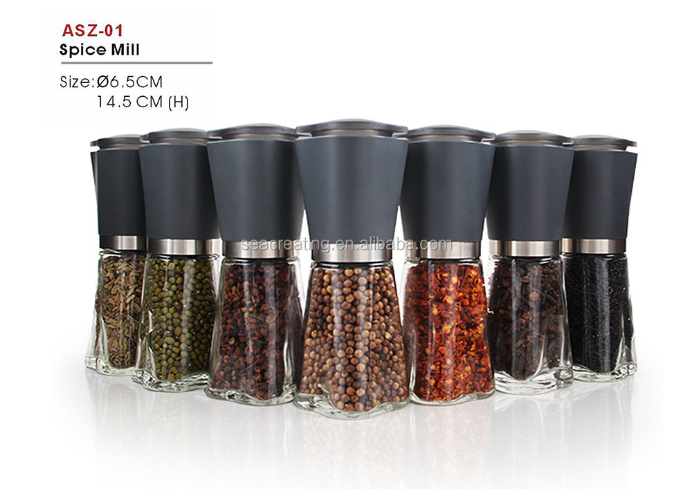 adjustable ceramic core salt and pepper grinder with glass bottle