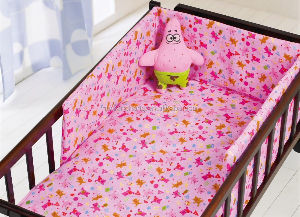 chinese 100% cotton printed girl baby bumper bed baby crib bedding set