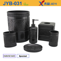 6pcs Black Carving Pattern Home Accessories,Polyresin Bath Set,Bathroom Vanity Tops