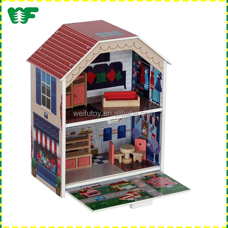 Wooden DIY children's miniature doll house and furniture