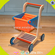 wholesale baby wooden shopping cart toy, orange color wooden shopping cart toy, cheap wooden shopping cart toy W16E016