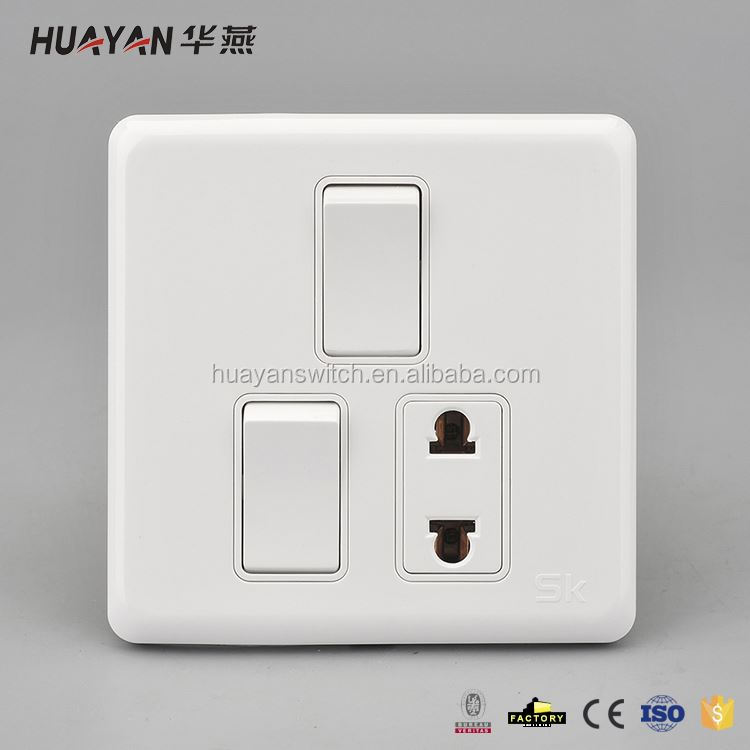 Newest sale custom design 1 way socket and 2 gang switch with good prices