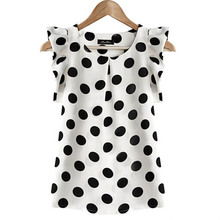 MOON BUNNY Hot Sales New Summer Womens Ladies Chiffon Puffed Short Sleeve Dot Print Top Blouse WHOLESALES MOQ 1 SET
