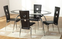 Modern Oval Tempered Glass Dining Table and Chairs