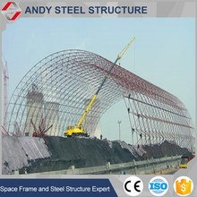 Lightweight steel dome space frame coal shed