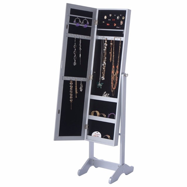 standing chest storage upright jewelry box mirrored armoire