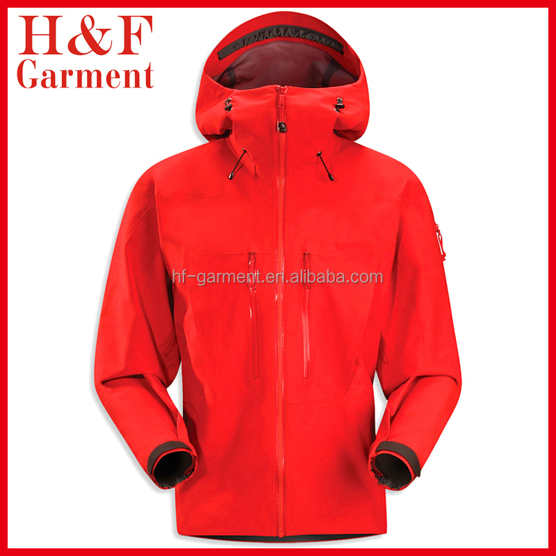Waterproof softshell jacket 10000mm with hood in custom red