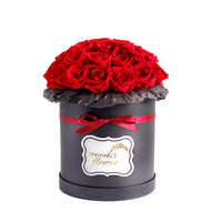 Wholesale Luxury Custom Printing Black Cardboard Round Box Flower Gift Boxes for Rose
