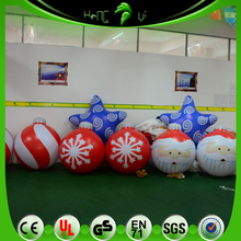 Customized Eye-catching Inflatable Xmas Ornament Balloons, Hanging Father Christmas Balls