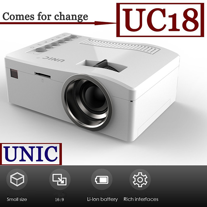 UNIC 320*180 Cheap Laptop Portable Overhead HDMI Projector UC18