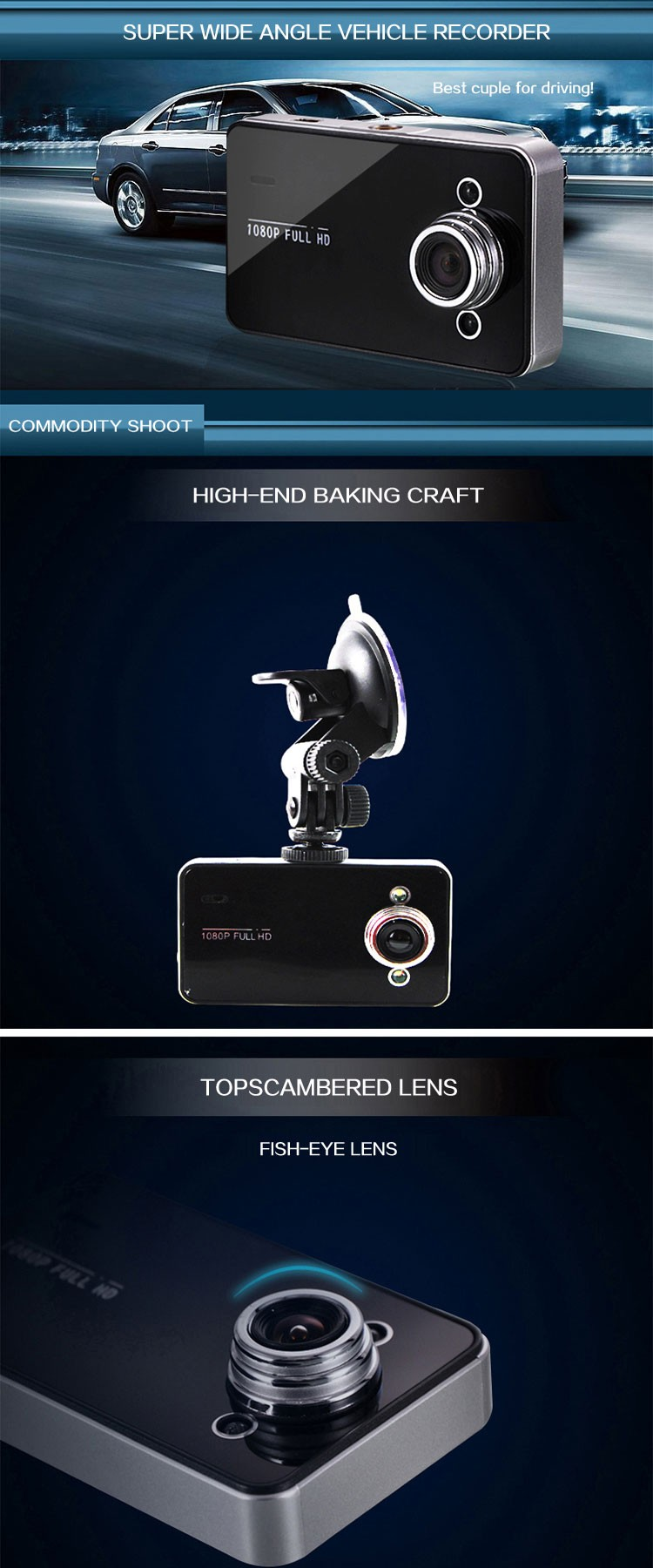 K6000 General Plus VGA chipset camera len OV7670. 30W pixels car camera. Angle of view 120 degrees car DVR