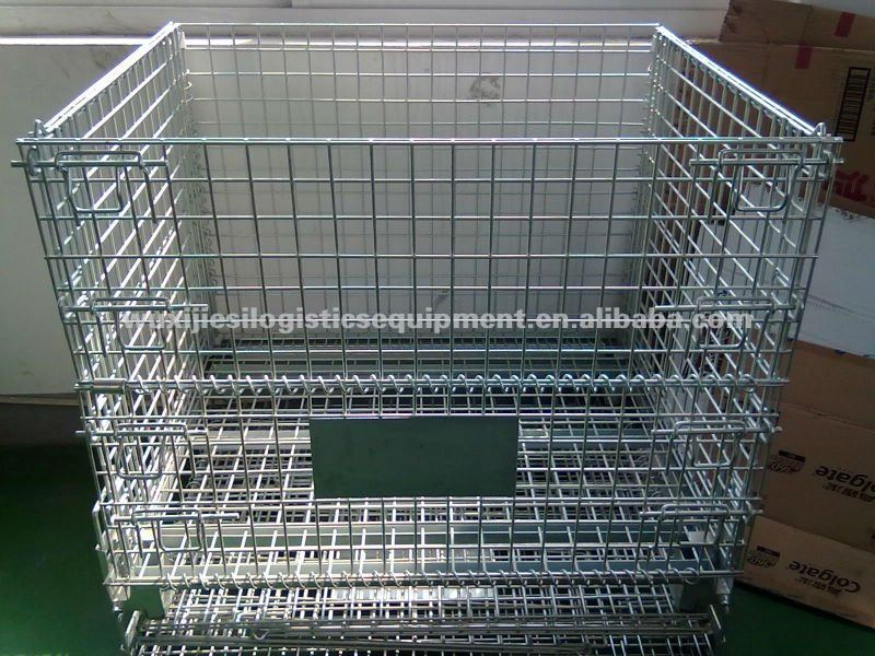JS Collapsible storage cage, Warehouse stackable box
