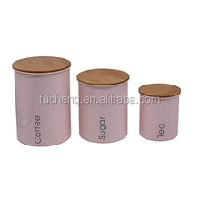 Bamboo cover metal canister light pink powder coated colored stainless steel Sugar Coffee Tea Set of 3
