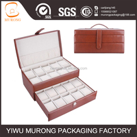 20slots brown faux leather watch display case box
