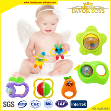 Hot selling enlighten non-toxic 5pcs cute cartoon rattle cheap baby toy