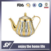 Side Handle Arabian Chromium Plating and Gold Plating Stainless Steel Tea Kettle/Tea Pot(SF-7806 SG)