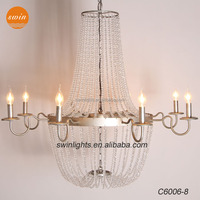 China Crystal chandelier,European antique iron candle decorative hall pendant light with UL/CE