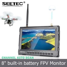 RC Hobby 8 inch HDMI FPV diversity monitor dual antenna receivers not affected by 2.4ghz radio controller lipo battery display