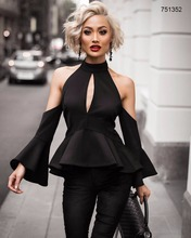 2017 new designs off-shoulder pagoda sleeve black top fashion ladies women dresses