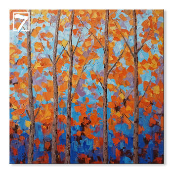 Orange Birch Acrylic Abstract Landscape Painting on Canvas Artwork for Wall Decor