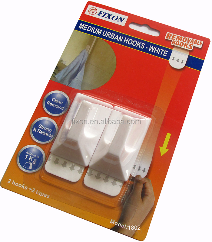 White & plastic rectangle wall hookadhesive hook